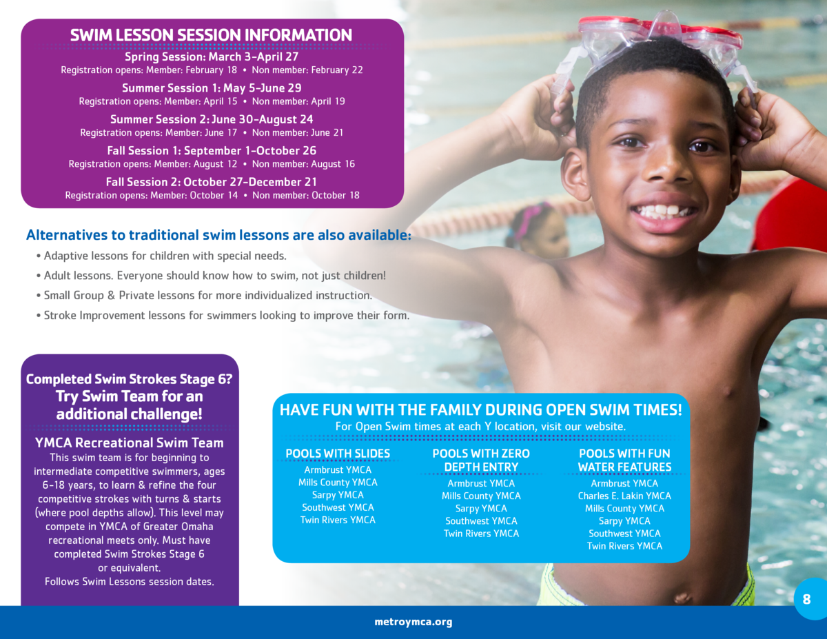SWIM LESSON SESSION INFORMATION Spring Session  March 3-April 27 Registration opens  Member  February 18     Non member  F...